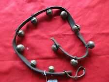 VINTAGE HORSE SLEIGH BELLS, 11 AMISH BRASS BELLS WITH LEATHER STRAP,  #CHI-00482