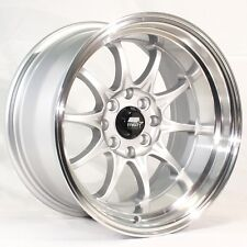 MST MT11 15x8 4x100/114.3 +0 Silver Rims Fits Corolla Sentra Prelude Rx7 Mustang