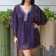 3028 Boho Chiffon Caftan Kaftan Purple Casual Tunic Batwing Kimono Top S M L XL