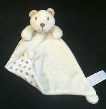 Matalan Teddy Bear Comforter Blankie Soft Toy Cream Neutral Stars