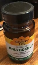 Country Life Chelated Molybdenum Gluten Free 100 Tablets