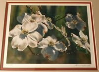 Beautiful Limited Edition Print of a Watercolor of Dogwoods Blooms, Signed & Num