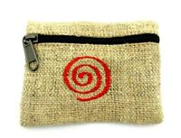 Hemp Coin Purse Red Spiral Bag Pouch Credit Card ID Holder Vegan Wallet