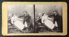 Vintage Stereo-View Stereoscopic Photo: #A91: Three Ladies In Soldiers Costumes