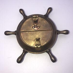 "VINTAGE BRASS SHIP WHEEL ASHTRAY Anchor Inalid 5"" Nautical Cigar Cigarette Case"