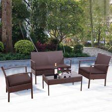 4 Pcs Outdoor Patio Rattan Wicker Loveseat Furniture Set Sofa Cushioned