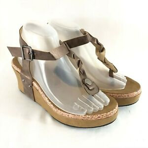 Womens Sandals Wedge Heel Thong Faux Leather Braided Buckle Bronze Size 7