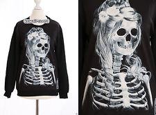 ty-y105 punk gothique Femmes Squelette noir sweat pull harajuku Japon tendance