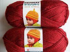 Bernat Sheep(ish) wool blend roving yarn, Dark Red, lot of 2 (167 yds each)
