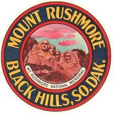 Mount Rushmore SD Black Hills Vintage 1950's Style  Travel Decal  Sticker  Label