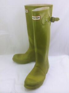 Hunter Original Gloss Womens US6 boots Green Tall Damaged Rain Equestrian 1002