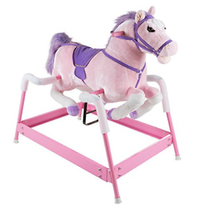 Spring Rocking Horse Plush Ride on Toy with Adjustable Foot Stirrups and Sounds