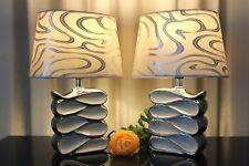 2 Lampen weiß silber Nachttischlampe Leuchte Keramik Tischlampe Tischleuchte 33
