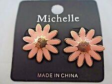 Daisy earrings pink gold base metal pierced ears spring flower