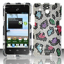 For Huawei H881C ACE Crystal Diamond BLING Hard Case Cover Rainbow Leopard