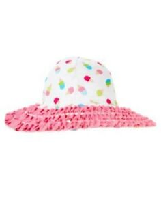 GYMBOREE ICE CREAM SWEETIE WHITE ICE CREAM RUFFLE SUN HAT 0 12 24 4T 5T NWT