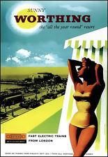Art Ad Sunny Worthing Southern British Railways  Train Rail Travel  Poster Print