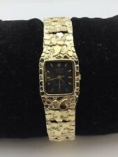 """14K Solid Yellow Gold 7.75"""" Nugget Style Wrist Watch Square Geneve with diamond"""