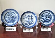 3 ANTIQUE CHINESE EXPORT CANTON BLUE AND WHITE PORCELAIN PLATES 19TH CENTURY