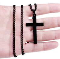 Fashion Men Women Gold Silver Black Cross Necklace Pendant Chain Party Jewelry