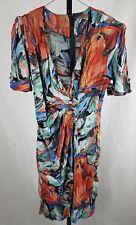 Cue Designs dress Vintage Size 10 12 Watercolour abstract print retro 80s
