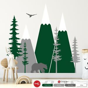 Mountain Scene Wall Art Sticker Pine Tree Nursery Kids Woodland Vinyl Decal