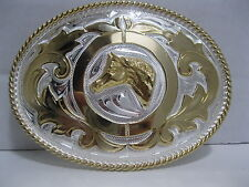 Cowboy Western Belt Buckle #848 - Horsehead - German Silver & Gold Plated