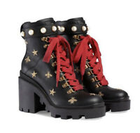 Gucci Leather embroidered ankle Black Boot Sz 7