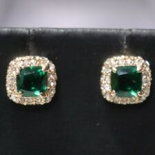 Classic Carved 2 Ct Green Emerald Diamond Halo Stud Earrings Gold Plated Jewelry