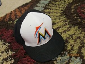 Era 59Fifty Miami Marlins GAME Fitted Hat White/  Black Men's MLB Cap Sz 7 5/8
