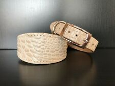 SMALL Leather Dog Collar LINED Greyhound Whippet Saluki CREAM REPTILE PATTERN