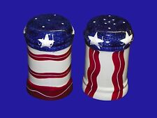 Salt & Pepper Shakers Lillian Vernon Red White Blue USA American Bicentennial