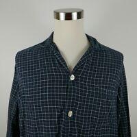 Brooks Brothers Mens Cotton LS Button Down Navy Plaid PJ Pajama Night Shirt M