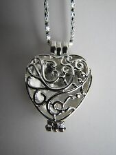 """Valentines Love Locket Heart Pendant with Silver Plated 22"""" Necklace-Free Shpg"""