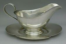 Gorham Sterling Silver Art Deco Gravy Sauce Boat w/ Attached Underplate 11.6 Oz