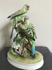 Andrea by Sadek Group of Parakeets Bisque Porcelain Birds 9.75� Tall