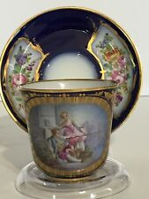 """Antique Sevres Cup & Saucer - Chateau des Tuileries -1844 -Artist Signed """"Morin"""""""