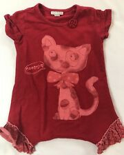Naartjie Girls Size 4 Years S Red Cat Graphic Short Sleeve Cotton Top Shirt