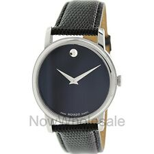 Movado Museum Black Dial Black Leather Strap Men's Watch 2100002 - FREE Shipping