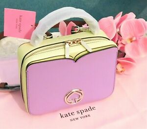 🌸 Kate Spade Vanity Mini Top-handle Bag Leather Crossbody Iris Bloom NEW $198