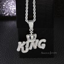 "Men's Lab Diamond 925 Sterling Silver Rhodium Finish Crown King Pendant 24""Chain"