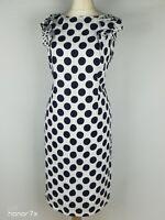 Per Una M&S White Polka Dot Smart Wedding Guest Party Shift Dress Size 18 Long