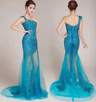 Abendkleid Ballkleid Verlobungskleid Partykleid Kleid Spitze Blau XS-3XL A1601B
