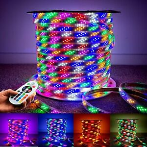 RGB LED Strip 220V 240V 144LEDs/m Lights IP67 Waterproof RGB Rope Light UK Plug
