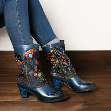 SOCOFY Women Retro Flower Branch Pattern Shoes Stitching Leather Mid Ca