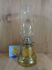 """Vintage HURRICANE OIL LAMP 15"""" GOLD BRASS Bell Shape with Clear Chimney"""