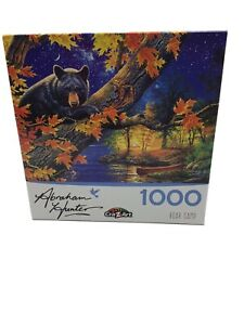 NEW Abraham Hunter Bear Camp 1000 Piece Puzzle Boat Lake Incomplete Minus 7 Pcs.