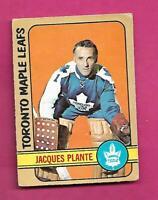 1972-73 OPC # 92 LEAFS JACQUES PLANTE GOALIE VG CARD (INV# D3291)