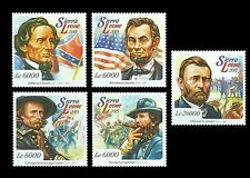 Sierra Leone 2015 American Civil War Leaders Abraham Lincoln Grant 5v Set 117
