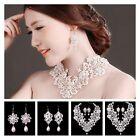 Fashion Wedding Pearl Rhinestone Crystal Bridal Party Earrings Necklace Set